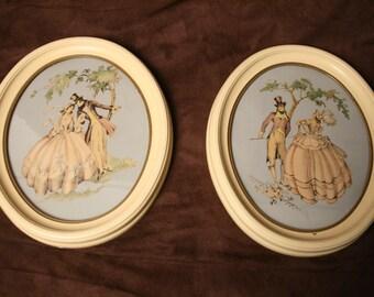 Shabby Chic Prints Maude Eggemeyer  of Romantic Victorian  Couple Vintage Pair Oval Cream Frames