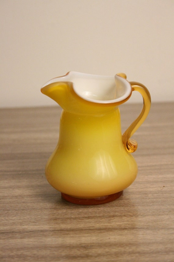 Cased Glass Creamer Pitcher Vintage Yellow Amber White Inside