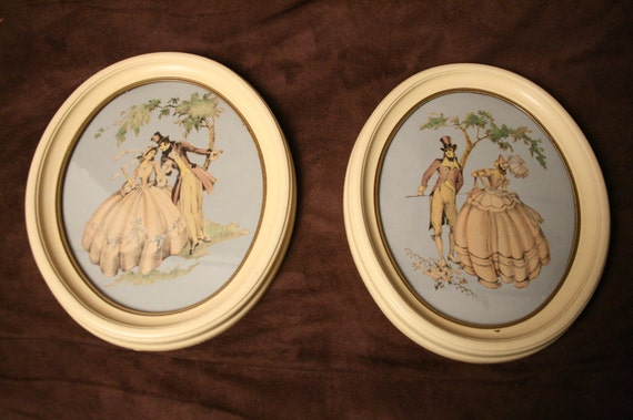 Shabby Chic Prints Maude Eggemeyer  of Romantic Victorian  Couple Vintage Pair Oval Cream Frames