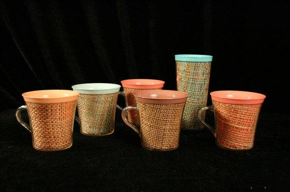 5 vintage plastic coffee cups with straw inserts