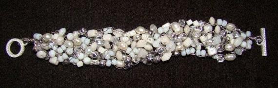 White and Silver Crochet Bracelet