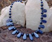 Kyanite, Blue Lapis, Freshwater Pearl Necklace
