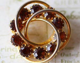 Gold and Amber Rhinestone Costume Jewelry Brooch Pin