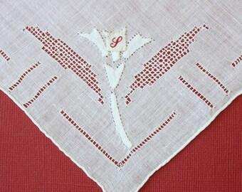 Elegant Vintage Floral Applique Handkerchief