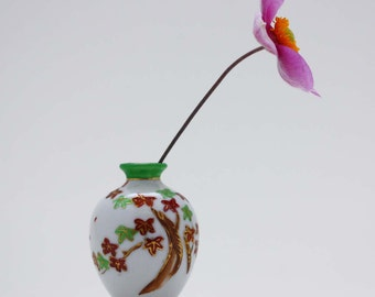 Vintage Porcelain Bud Vase with Maple Tree