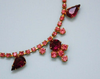 Rhinestone Costume Jewelry Necklace in Pink and Fuchsia