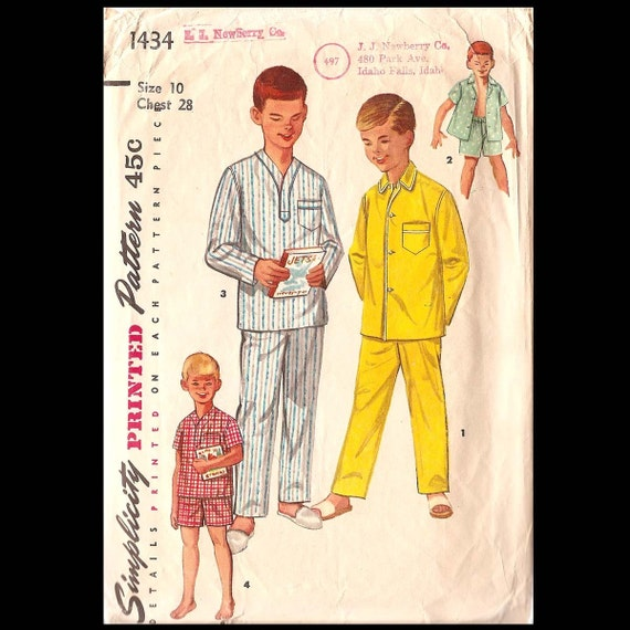 1950s Simplicity Boy's Pajamas in Two Lengths Summer and Winter Pattern 1434 Size 10