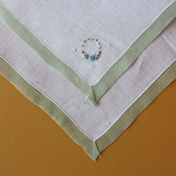 Elegant Vintage Handkerchief with Green Lace Border
