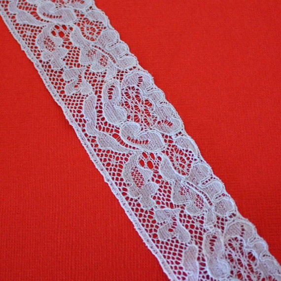 45 Inches of Vintage Floral Lace in Sky Blue 1.25 Inches Wide