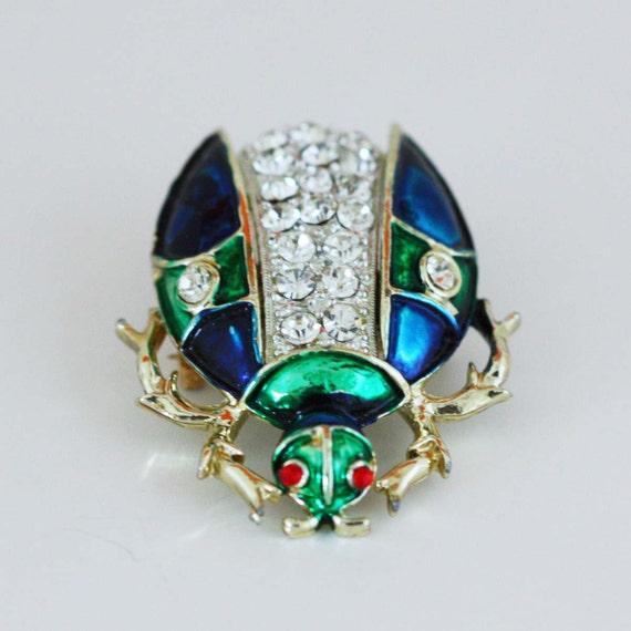 Rhinestone Beetle Brooch - Vintage Costume Jewelry Pin