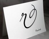 Personalized Stationery Big Flowy Monogram Initial R Stationary with Name Personalization