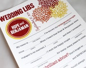 Wedding Mad Libs PDF FILE Print Yourself Bold Mums Colors are Customizable Digital File