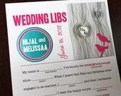 Wedding Mad Libs PDF FILE Print Yourself Love Tree Colors are Customizable Digital File