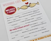 Wedding Mad Libs PDF FILE Print Yourself Kissing Fish Colors are Customizable