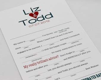 Wedding Mad Libs PDF FILE Print Yourself