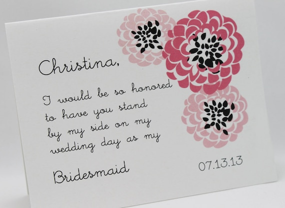 5 Pretty Mums personalized Will You Be My Bridesmaid Cards Set of Five