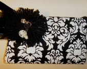 Charming Black White Damask Wristlet