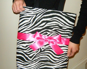 Zebra Tote bag with Hot Pink Bow