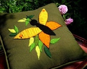 vintage 60s 70s embroidered pillow butterfly crewel needle work