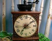 Coffee grinder country clock vintage