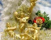 Vintage Golden Angels Christmas decoration crafting ornaments