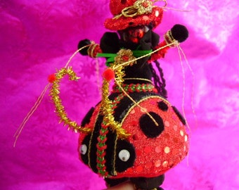 Hand Crafted Chenille Lady bug ornament Sculpture cake topper gift Fantasy one of a kind collectible