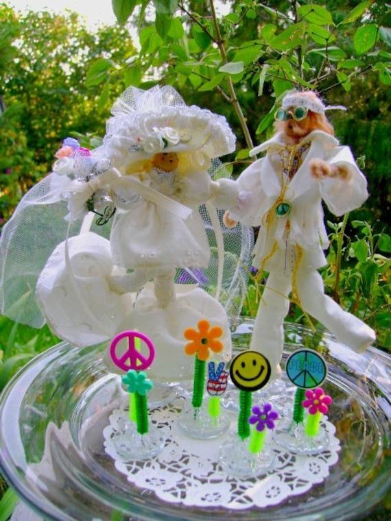 Cake Topper Hippie Bride Groom Wedding Anniversary By Ownbackyard