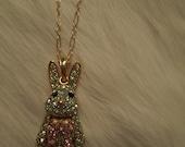 Aqua Rhinestone bunny rabbit necklace 14K Gold filled