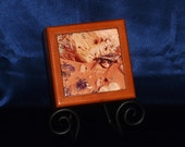 Red Sands and Blue Flowers - Tile Decorated Box