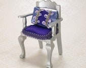 Dollhouse Miniature Chair Silver Purple Green One Inch Scale OOAK Furniture Royal Regal Upholstered Pillow