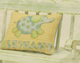 Blue Elephant Pillow Green Nursery 1:12 Dollhouse Miniatures Scale Artisan