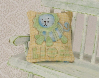 Blue Lion Pillow Nursery Cushion Green 1:12 Dollhouse Miniature Artisan