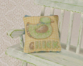 Chick Pillow Cushion Green Yellow 1:12 Dollhouse Miniatures Scale Artisan