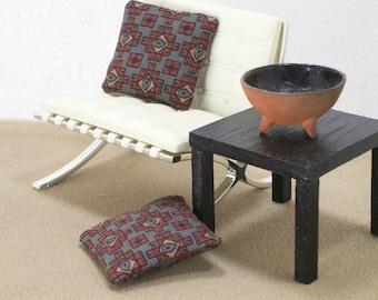 Gray Geometric Pillows Cushions Brown Modern 1:12 Dollhouse Miniatures Artisan