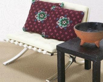 Modern Pillows Cushions Plum Sea Green 1:12 Dollhouse Miniatures Artisan