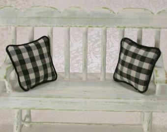 Black Gingham Pillows Cushions White Checked 1:12 Dollhouse Miniatures Artisan
