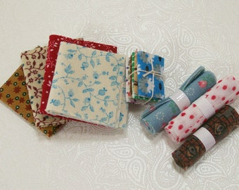 Fat Quarters Fabric Remnants Sewing Room Supplies 1:12 Dollhouse Miniatures
