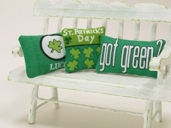 Dollhouse Miniature St Patrick's Day Pillows Green Irish One Inch Scale