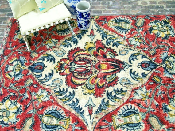 Dollhouse Miniature Rug Carpet Persian Oriental Red Blue One Inch Scale