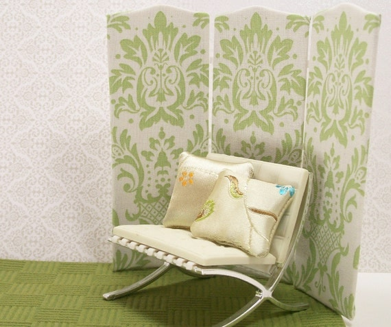 Dollhouse Miniature Tri Panel Folding Screen Room Divider Sage Green Contemporary Home Decor Furniture One Inch Scale