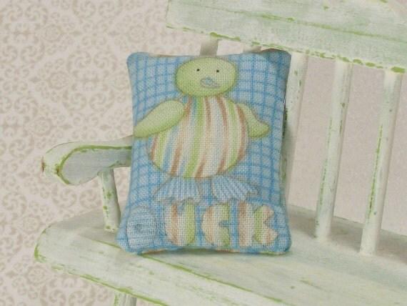 Duck Pillow Cushion Blue Green Nursery 1:12 Dollhouse Miniatures Artisan