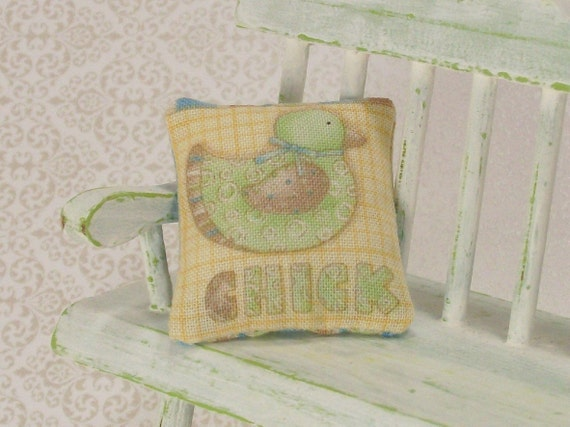 Chick Pillow Cushion Green Yellow 1:12 Dollhouse Miniatures Scale Artisan