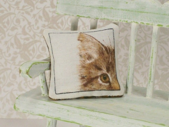 Reserved Listing for Haydi Only Dollhouse Miniature Mini Pillow Brown Eye Tiger Cat Kitty One Inch Scale