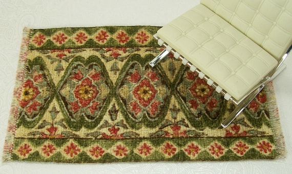 Dollhouse Miniature Persian Oriental Style Carpet Rug Sage Green One Inch Scale