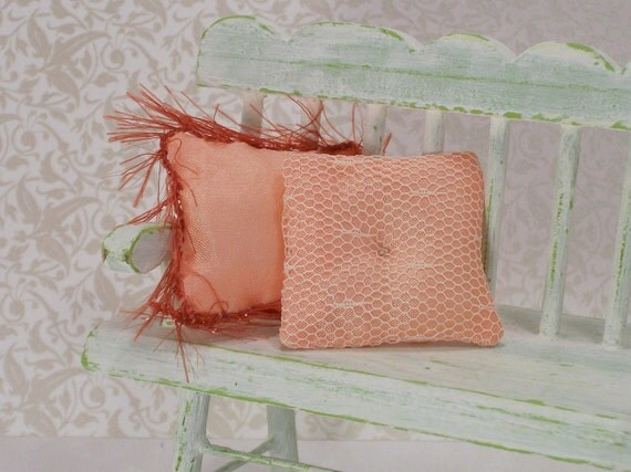 Dollhouse Miniature Pillows Cushions Peach Apricot Pair Boudoir Bedroom One Inch Scale