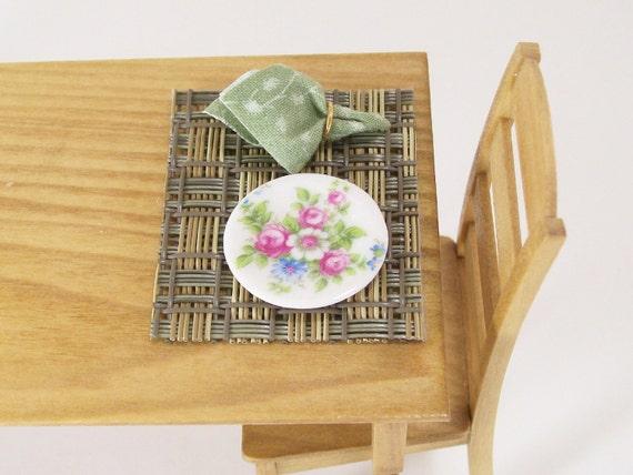Dollhouse Miniature Woven Placemats Napkins Place Mats Set Zen Pair One Inch Scale
