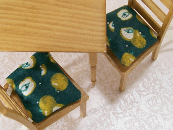 Dollhouse Miniature Kitchen Chair Cushions Pads Apples Green Pair Set One Inch Scale