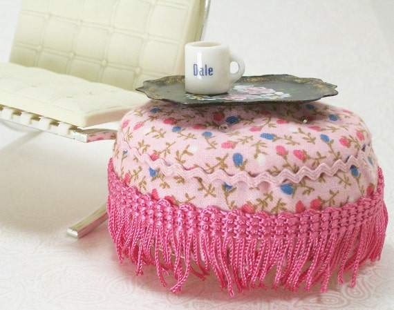 Dollhouse Miniature Pink Tufted Overscale Ottoman