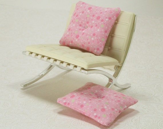 Miniature Pink Tufted Pillows Cushions Dotted