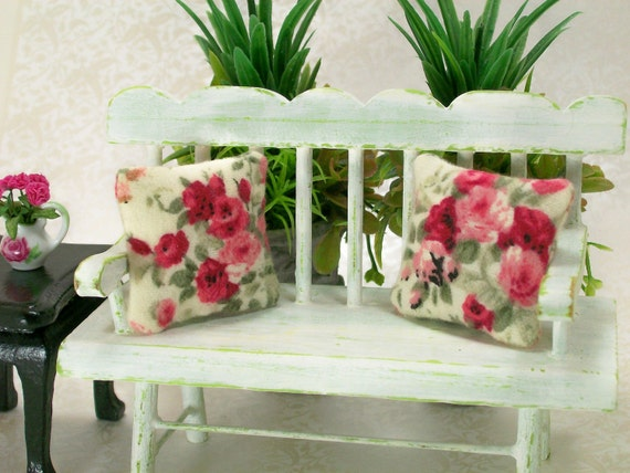 Dollhouse Miniature Mini Cabbage Roses Pillows Pink Red Rose Victorian Style Shabby Chic Flowers Floral One Inch Scale Throw Toss Cushions